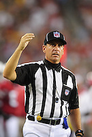 Aug. 28, 2009; Glendale, AZ, USA; NFL referee John Hussey during the game between the Arizona Cardinals against the Green Bay Packers during a preseason game at University of Phoenix Stadium. Mandatory Credit: Mark J. Rebilas-