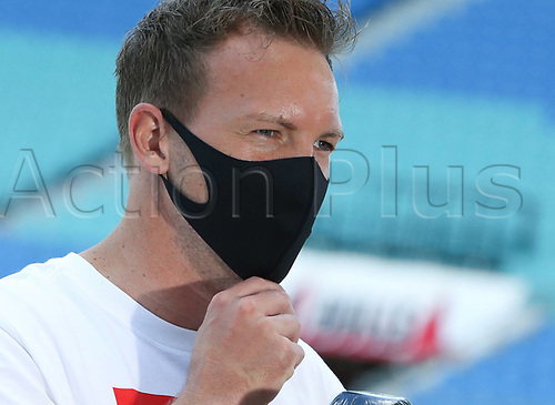 16th May 2020, Red Bull Arena, Leipzig, Germany; Bundesliga football, Leipzig versus FC Freiburg;  trainer Julian Nagelsmann RBL wearing protective mask during an interview