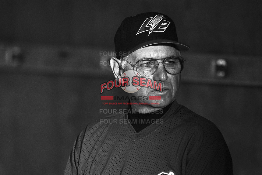 Lake Elsinore Storm pitching coach Howie Gershberg at The Epicenter in Rancho Cucamonga,California during the 1996 season. (Larry Goren/Four Seam Images)