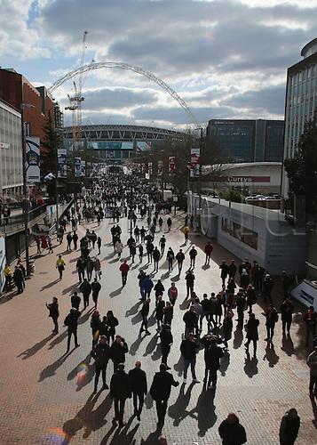 28.02.2016. Wembley Stadium, London, England. Capital One Cup Final. Manchester City versus Liverpool. Fans pour onto Wembley Way