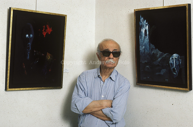Ernesto Sabato presenting his paintings in Paris.