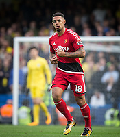 Andre Gray of Watford during the Premier League match between Chelsea and Watford at Stamford Bridge, London, England on 21 October 2017. Photo by Andy Rowland.