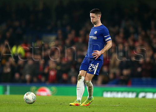 20th December 2017, Stamford Bridge, London, England; Carabao Cup quarter final, Chelsea versus Bournemouth; Gary Cahill, the Chelsea captain passes into midfield