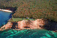 Grand Island North Lighthouse aerial lighthouses in the Upper Peninsula of Michigan