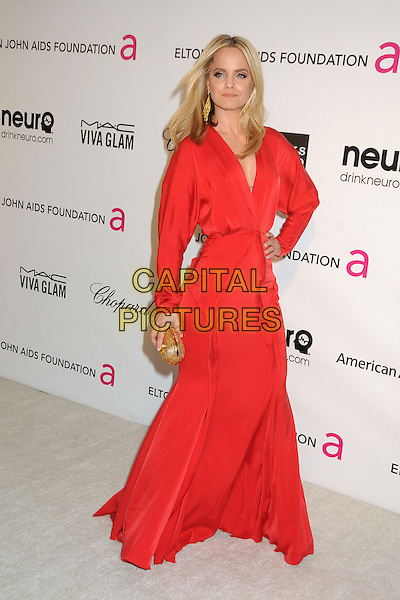Mena Suvari.21st Annual Elton John Academy Awards Viewing Party held at West Hollywood Park, West Hollywood, California, USA..February 24th, 2013.oscars full length red long sleeves dress gold clutch bag hand on hip.CAP/ADM/BP.©Byron Purvis/AdMedia/Capital Pictures.