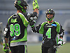 Will Manny #4 of the New York Lizards, right, comes over to congratulate teammate Paul Rabil #99 after he scored a goal in the second quarter of a Major League Lacrosse game against the Ohio Machine at Shuart Stadium in Hempstead, NY on Thursday, June 29, 2017.