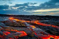 Sunrise, Small pahoehoe lava flow, Kilauea volcano, Hawaii, USA Volcanoes National Park, Big Island of Hawaii, USA