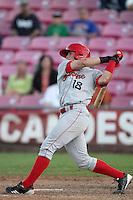 Spokane Indians infielder Nick Vickerson #18 bats against the Salem-Keizer Volcanoes at Volcanoes Stadium on August 10, 2011 in Salem-Keizer,Oregon. Salem-Keizer defeated Spokane 7-6.(Larry Goren/Four Seam Images)