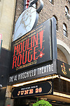 """Theatre Marquee unveiling for """"Moulin Rouge! The Musical"""", based on the Baz Luhrmann movie, starring Karen Olivo, Aaron Tveit and Danny Burstein at the Al Hirschfeld Theatre on April 17, 2019 in New York City."""