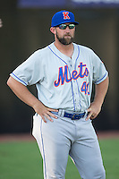 Kingsport Mets pitching coach Royce Ring (40) prior to the game against the Danville Braves at American Legion Post 325 Field on July 9, 2016 in Danville, Virginia.  The Mets defeated the Braves 10-8.  (Brian Westerholt/Four Seam Images)