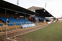 The main stand at Barnet FC Football Ground, Underhill Stadium, Barnet, London, pictured on 10th February 1996