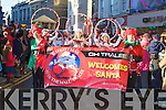 DANCERS: dancers who danced in the Christmas Santa parade on Saturday in Tralee, Nicola Comerford,Sarah Dunworth,Sinead Deasy and Katie Sheehy. Back l-r: Kelly Brosnan, Iseult Daly, Kelley Pierse and Caoimhe Ringland............................ ..........