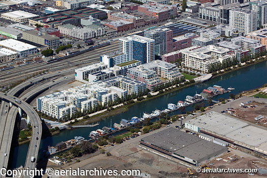Aerial photograph Mission Bay residential Islais Creek house boats San Francisco California