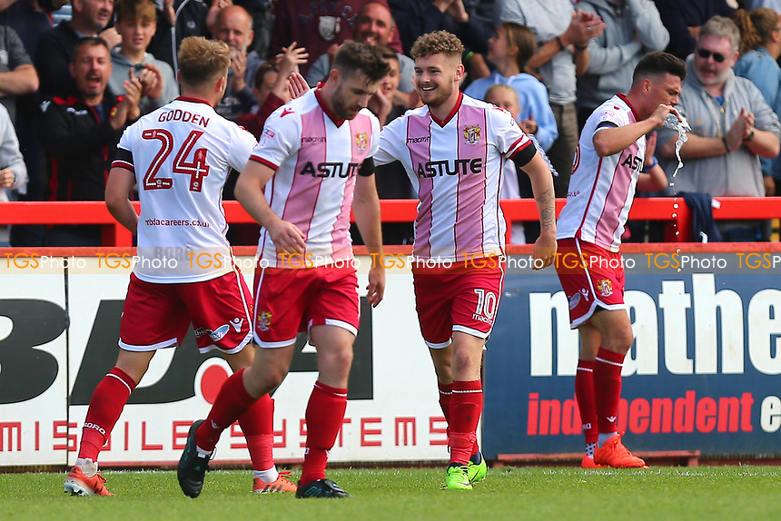 Ben Kennedy of Stevenage scores the third goal for his team and celebrates during Stevenage vs Grimsby Town, Sky Bet EFL League 2 Football at the Lamex Stadium on 19th August 2017