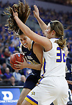 SIOUX FALLS, SD: MARCH 5: Montserrat Brotons #24 of Oral Roberts drives on Sydney Palmer #32 of South Dakota State during the Summit League Basketball Championship on March 5, 2017 at the Denny Sanford Premier Center in Sioux Falls, SD. (Photo by Dick Carlson/Inertia)