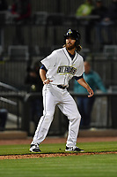 Right fielder Gene Cone (9) of the Columbia Fireflies in a game against the Augusta GreenJackets on Opening Day, Thursday, April 6, 2017, at Spirit Communications Park in Columbia, South Carolina. Columbia won, 14-7. (Tom Priddy/Four Seam Images)