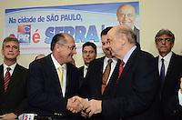 SAO PAULO, 04 DE JUNHO DE 2012 - SERRA PR - O candidato a prefeitura de Sao Paulo, Jose Serra, e o Governador Geraldo Alckmin em reuniao de apoio politico na sede do Partido da Republica. na Avenida Republica do Libano, regiao sul da capital, na tarde desta segunda feira. FOTO: ALEXANDRE MOREIRA - PHOTO PRESS