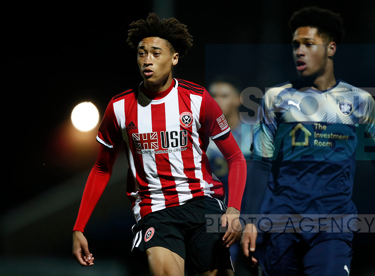 Daniel Jebbison of Sheffield Utd during the Professional Development League  match at the Proact Stadium, Chesterfield. Picture date: 3rd February 2020. Picture credit should read: Simon Bellis/Sportimage