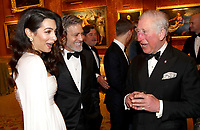 12 March 2019 - London, England - Amal Clooney and George Clooney with Prince Charles, Prince of Wales during a dinner to celebrate The Princes Trust at Buckingham Palace in London. The Prince of Wales, President, The Princes Trust Group hosted a  dinner for donors, supporters and ambassadors of Princes Trust International. Photo Credit: ALPR/AdMedia