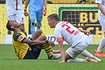 06.10.2018, Signal Iduna Park, Dortmund, GER, DFL, BL, Borussia Dortmund vs FC Augsburg, DFL regulations prohibit any use of photographs as image sequences and/or quasi-video<br /> <br /> im Bild Manuel Akanji (#16, Borussia Dortmund) Alfreo Finnbogason (#27, FC Augsburg) am Boden<br /> <br /> Foto &copy; nph/Horst Mauelshagen