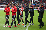 Players applaud the fans during the championship match at the Bramall Lane Stadium, Sheffield. Picture date 28th April 2018. Picture credit should read: Simon Bellis/Sportimage