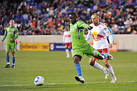 Jhon Kennedy Hurtado (34) of the Seattle Sounders. The New York Red Bulls defeated the Seattle Sounders 1-0 during a Major League Soccer (MLS) match at Red Bull Arena in Harrison, NJ, on March 19, 2011.
