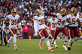 Washington Redskins free safety D.J. Swearinger (36) celebrates with teammates strong safety Montae Nicholson (35), cornerback Fabian Moreau (31), cornerback Josh Norman (24), and linebacker Mason Foster (54) in the first quarter against the Dallas Cowboys at FedEx Field in Landover, Maryland on Sunday, October 21, 2018.<br /> Credit: Ron Sachs / CNP