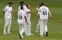 Aaron Beard of Essex celebrates taking the wicket of Grant Stewart during Kent CCC vs Essex CCC, Friendly Match Cricket at The Spitfire Ground on 27th July 2020
