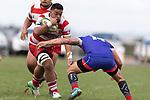 Lepetimalo Lauese charges towards Whaiora Rangiwai. Counties Manukau Premier Club Rugby game between Karaka and Ardmore Marist, played at the Karaka Sports Park on Saturday April 21st 2008. Ardmore Marist won the game 29 - 7 after being 7 all at halftime.<br /> Karaka 7 -Kalione Hala try, Juan Benadie conversion.<br /> Ardmore Marist South Auckland Motors (Counties Power Cup Holders) 29 - Sione Tuipulotu, Bryan Mulitalo, Damon Leasuasu, Joseph Ikenasio tries, Latiume Fosita 3 conversions, Latiume Fosita penalties.<br /> Photo by Richard Spranger