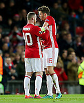Wayne Rooney of Manchester United hands the captains armband to team mate Michael Carrick during the UEFA Europa League match at Old Trafford, Manchester. Picture date: November 24th 2016. Pic Matt McNulty/Sportimage