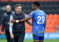 Barnet Manager, Darren Currie, shares a joke with Solihull Moors Adi Yussuf at the end of the match during Barnet vs Solihull Moors, Vanarama National League Football at the Hive Stadium on 28th September 2019