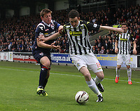 Sean Kelly gets the better of Richie Brittain in the St Mirren v Ross County Scottish Professional Football League Premiership match played at St Mirren Park, Paisley on 3.5.14.