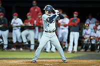 Jackson Raper (14) of the Catawba Indians at bat against the Belmont Abbey Crusaders at Abbey Yard on February 7, 2017 in Belmont, North Carolina.  The Crusaders defeated the Indians 12-9.  (Brian Westerholt/Four Seam Images)