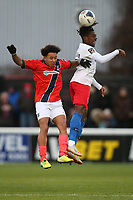 Alexander McQueen of Dagenham and Josh Smile of Maidenhead during Dagenham & Redbridge vs Maidenhead United, Vanarama National League Football at the Chigwell Construction Stadium on 7th December 2019