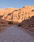 "Petra, Jordan -- The ancient Roman ""Colonnaded Street"" (""Cardo Maximus"") seems to lead directly to the most impressive Nabatean ""royal tombs,"" with the ""Palace Tomb"" on the left.  © Rick Collier"