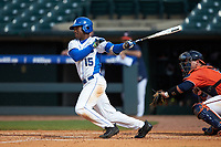 Kennie Taylor (15) of the Duke Blue Devils follows through on his swing against the Virginia Cavaliers in Game Seven of the 2017 ACC Baseball Championship at Louisville Slugger Field on May 25, 2017 in Louisville, Kentucky. The Blue Devils defeated the Cavaliers 4-3. (Brian Westerholt/Four Seam Images)