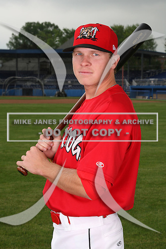 Batavia Muckdogs second baseman Matt Valaika (8) poses for a photo before minicamp team practice at Dwyer Stadium in Batavia, New York June 14, 2010.   Photo By Mike Janes/Four Seam Images
