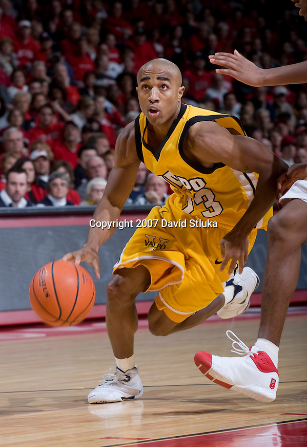 MADISON, WI - DECEMBER 22: Guard Jarryd Loyd #23 of the Valparaiso Crusaders handles the ball against the Wisconsin Badgers at the Kohl Center on December 22, 2007 in Madison, Wisconsin. The Badgers beat the Crusaders 68-58. (Photo by David Stluka)
