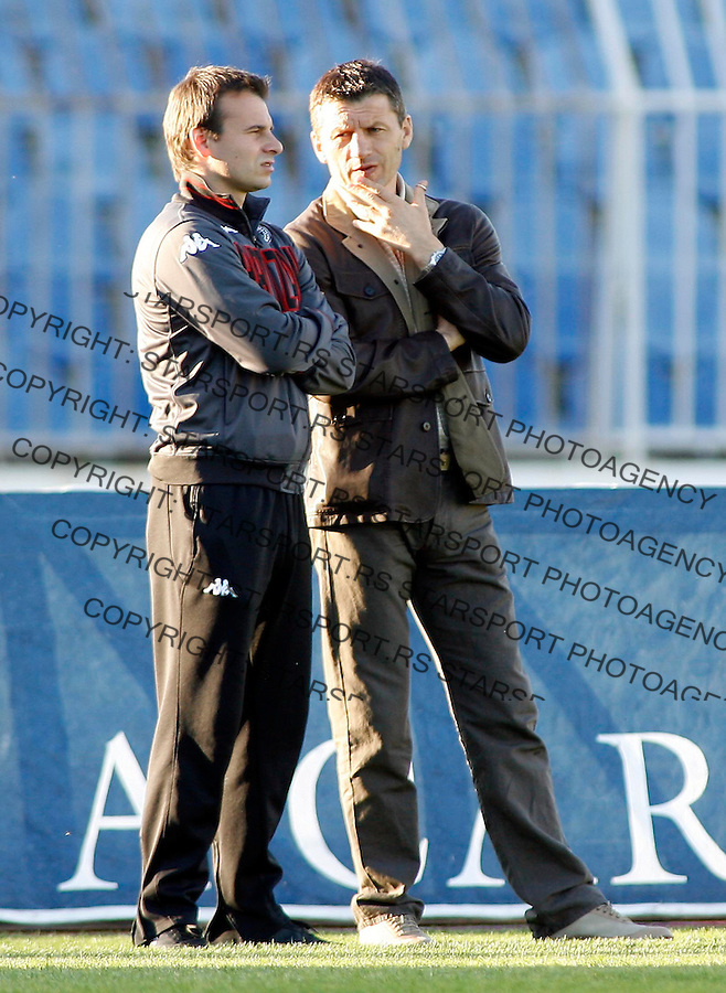 Fudbal, Super league, play off, season 2006/07.Partizan Vs. Bezanija.Miroslav Djukic, head coach, right and Aleksandar Stanojevic, left.Beograd, 14.04.2007..foto: Srdjan Stevanovic