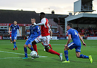Fleetwood Town's Devante Cole attacks goalwards <br /> <br /> Photographer Andrew Kearns/CameraSport<br /> <br /> The Carabao Cup First Round - Fleetwood Town v Carlisle United Kingdom - Tuesday 8th August 2017 - Highbury Stadium - Fleetwood<br />  <br /> World Copyright &copy; 2017 CameraSport. All rights reserved. 43 Linden Ave. Countesthorpe. Leicester. England. LE8 5PG - Tel: +44 (0) 116 277 4147 - admin@camerasport.com - www.camerasport.com
