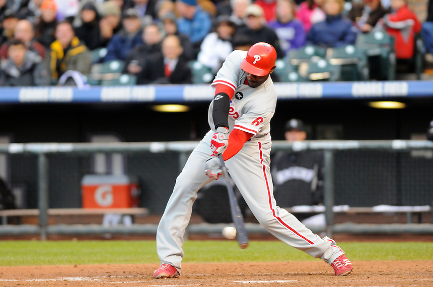 12 October 2009: Phillies 1st baseman Ryan Howard puts wood on the ball during a National League Division Series game between the Philadelphia Phillies and the Colorado Rockies at Coors Field in Denver, Colorado. The Phillies beat the Rockies 5-4 and won the series 3-1. *****For editorial use only*****