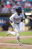 Vidal Brujan (2) of the Bowling Green Hot Rods hustles down the first base line against the Dayton Dragons at Fifth Third Field on June 8, 2018 in Dayton, Ohio. The Hot Rods defeated the Dragons 11-4.  (Brian Westerholt/Four Seam Images)