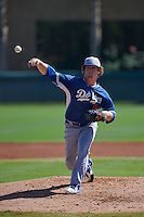 Los Angeles Dodgers pitcher Grant Holmes (21) during an instructional league game against the Milwaukee Brewers on October 13, 2015 at Cameblack Ranch in Glendale, Arizona.  (Mike Janes/Four Seam Images)