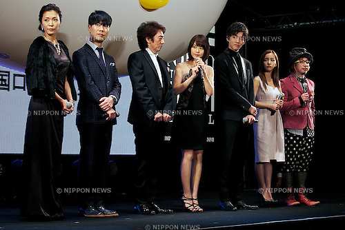 """Kei Aran, Takashi Fujii, Masachika Ichimura, Kasumi Arimura, Tori Matsuzaka, Tomomi Itano and Sebastian, Oct 29, 2014 : Tokyo, Japan : (L to R) Actress Kei Aran, actor Takashi Fujii, actor Masachika Ichimura, actress Kasumi Arimura, actor Tori Matsuzaka, actress Tomomi Itano and director Sebastian Masuda speak to the audience during the world premiere event of the movie """"The Nutcracker"""" at TOHO CINEMAS in Roppongi on October 29, 2014, Tokyo, Japan. The 27th Tokyo International Film Festival which is the biggest cinematic festival in Tokyo has been held from October 23 to 31. (Photo by Rodrigo Reyes Marin/AFLO)"""