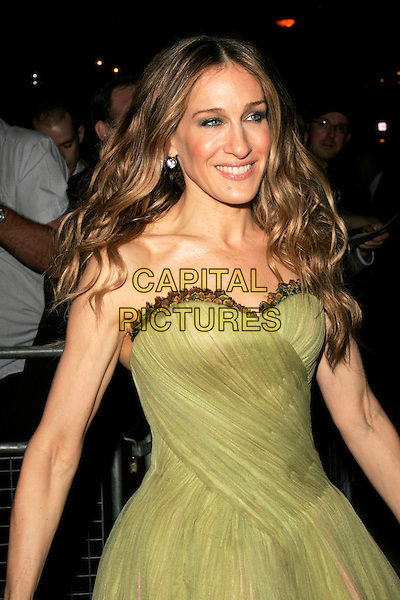 "SARAH JESSICA PARKER.The ""Sex And The City: The Movie"" afterparty, Old Billingsgate Market, London, England, UK.May 12th, 2008.after party SATC half length green strapless McQueen dress SJP .CAP/AH.©Adam Houghton/Capital Pictures."