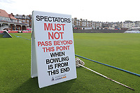 General view of Spectators Must Not Pass Beyond This Point sign ahead of Yorkshire CCC vs Essex CCC, Specsavers County Championship Division 1 Cricket at Scarborough CC, North Marine Road on 6th August 2017