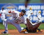 Reno Aces&rsquo; Sean Jamieson puts the tag on Salt Lake Bees&rsquo; Quintin Berry at Greater Nevada Field in Reno, Nev., on Tuesday, June 7, 2016. <br />