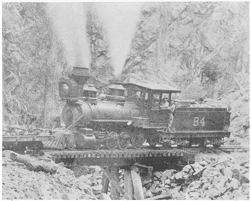 3/4 view of engine #84 on a short trestle in a canyon.<br /> D&amp;RG