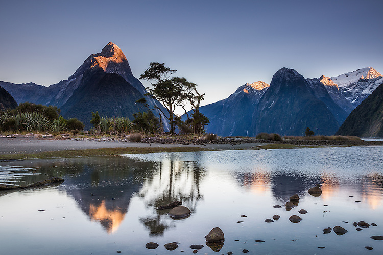 Mitre Peak reflected in calm waters at Milford Sound, Fiordland National Park, South Island, New Zealand (toned image) - stock photo, canvas, fine art print