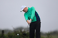 Robin Dawson from Ireland on the 8th tee during Round 3 Foursomes of the Men's Home Internationals 2018 at Conwy Golf Club, Conwy, Wales on Friday 14th September 2018.<br /> Picture: Thos Caffrey / Golffile<br /> <br /> All photo usage must carry mandatory copyright credit (&copy; Golffile | Thos Caffrey)